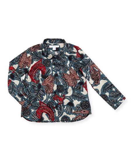 Burberry Clarkey Poplin Printed Button-Down Shirt, Size 12M-3T