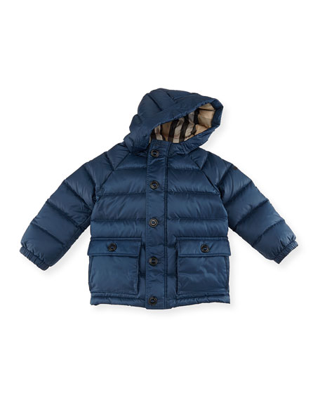 Burberry Lachlan Hooded Puffer Jacket, Blue, Size 2-3