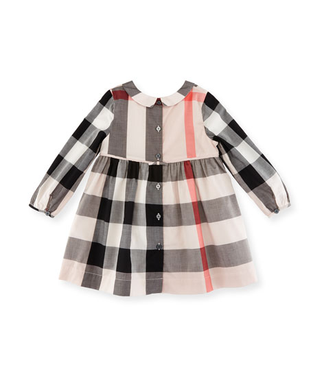 Liz Long-Sleeve Check Dress, Size 6M-3Y