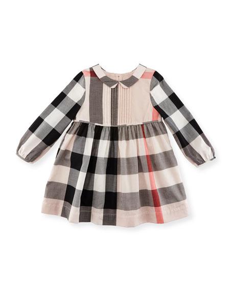 Liz Long-Sleeve Check Dress, Size 6M-3Y