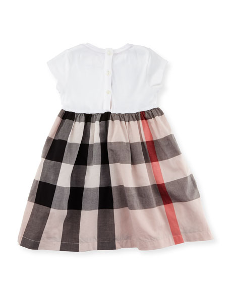 Mini Rosey Combo Dress, Pink, Size 6M-3Y