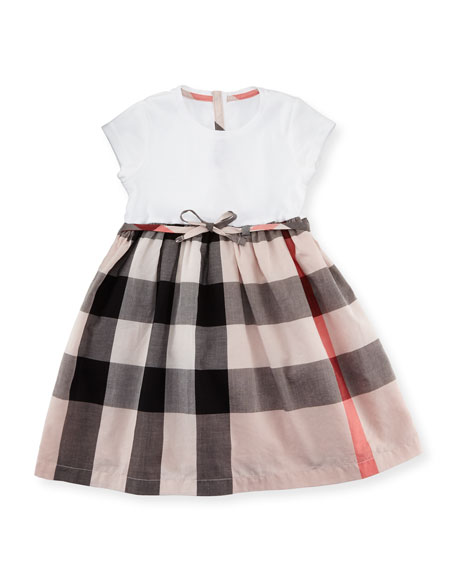 Burberry Mini Rosey Combo Dress, Pink, Size 6M-3Y
