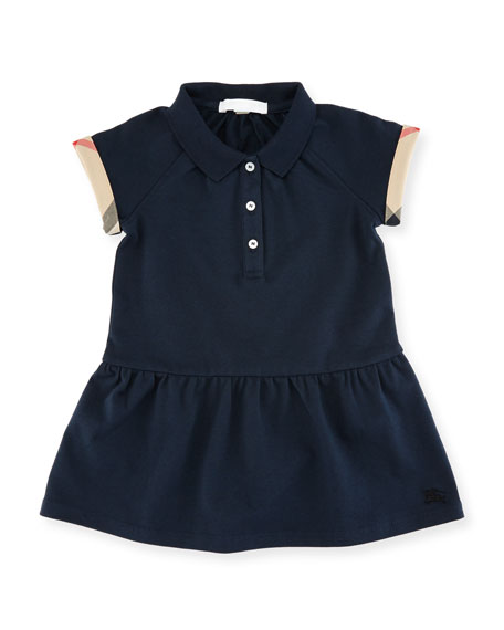 Burberry Cali Smocked Raglan Polo Dress, Size 6M-3Y