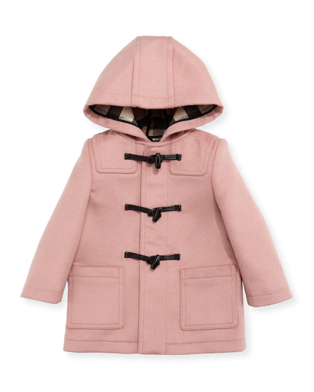Burberry Brogan Hooded Duffle Coat, Rose, Size 12M-3T