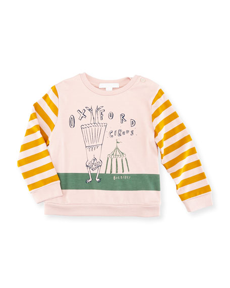 Burberry Olivia Striped Graphic Sweatshirt, Size 12M-3T