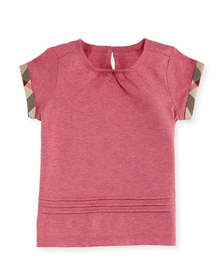 Burberry Gisselle Pintucked Melange Jersey Tee, Pink, Size