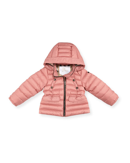 Mini Bronwyn Quilted Puffer Coat, Rose, Size 12M-3T