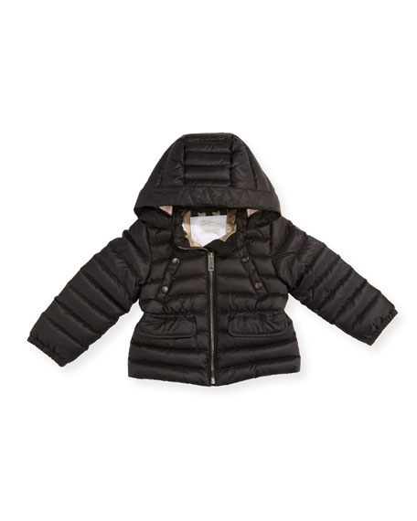 Burberry Mini Bronwyn Quilted Puffer Coat, Black, Size