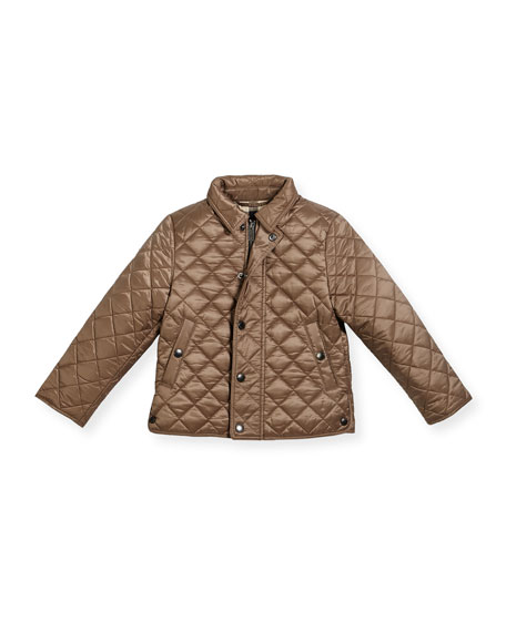 Burberry Luke Quilted Snap-Front Jacket, Brown, Size 4-12