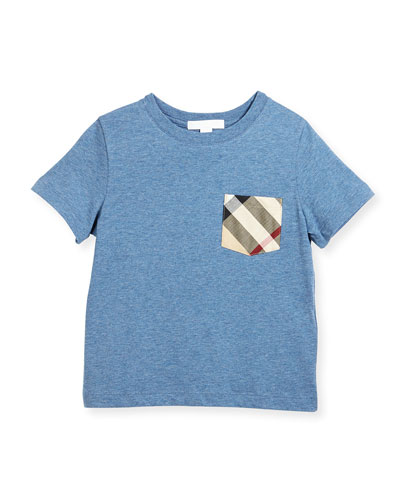 Callum Check-Pocket Jersey Tee, Blue, Size 4