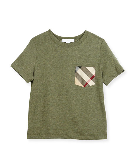Burberry Callum Check-Pocket Jersey Tee, Green, Size 4-14