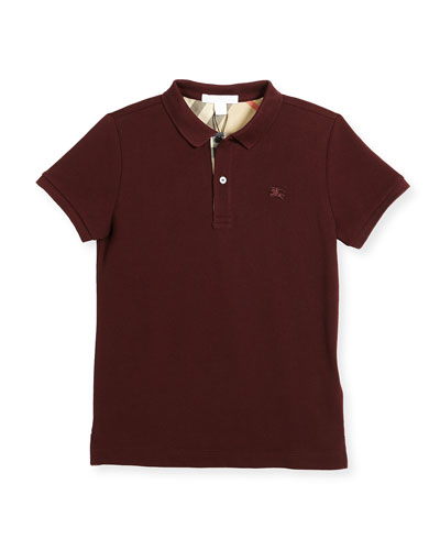 Boys' Cotton Polo, Burgundy, Size 4-14