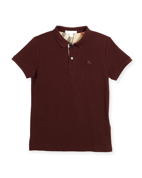 Boys' Cotton Polo, Burgundy, Size 4-14