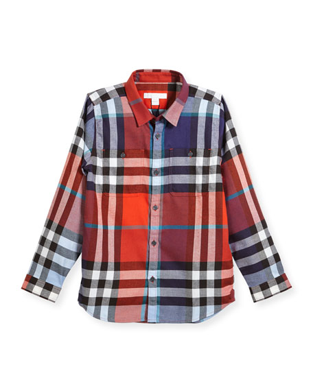 Burberry Mini Camber Check Shirt, Red, Size 4-14