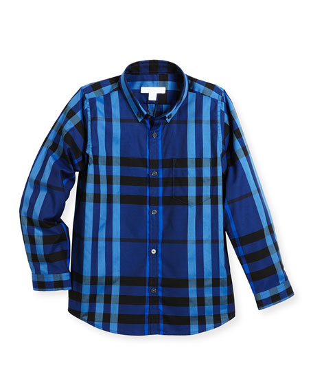 Burberry Fred Mini Long-Sleeve Check Shirt, Blue, Size