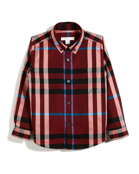 Burberry Fred Mini Long-Sleeve Check Shirt, Red, Size
