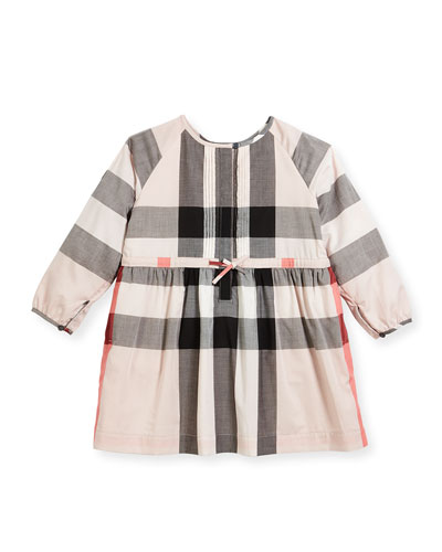 Agnes Long-Sleeve Check Dress, Size 4