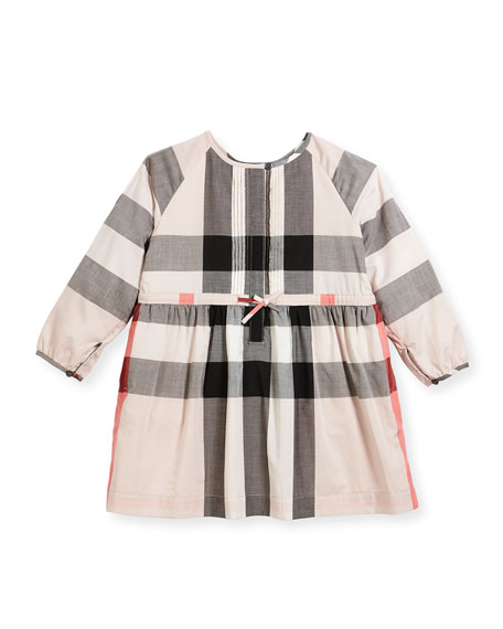 Burberry Agnes Long-Sleeve Check Dress, Size 4-14