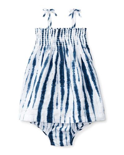 Sleeveless Smocked Shibori Dress w/ Bloomers, Blue/White, Size 9-24 Months