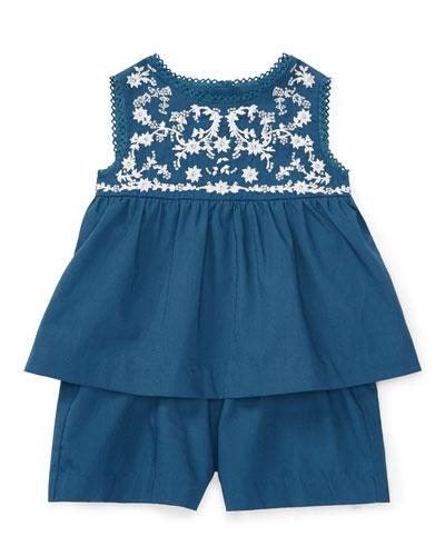 Sleeveless Embroidered Romper, Indigo Blue, Size 9-24 Months