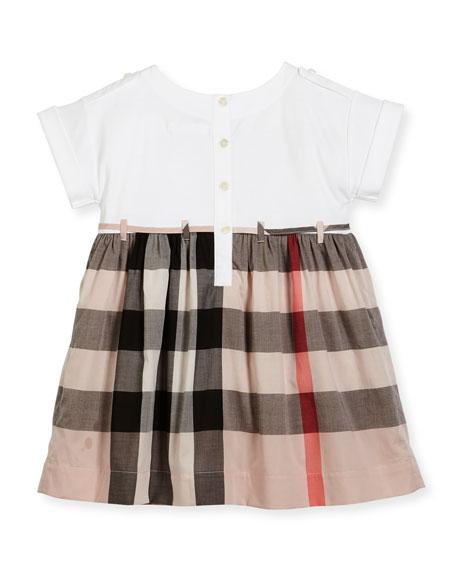 Rhonda Jersey & Check Poplin Dress, Size 4-14