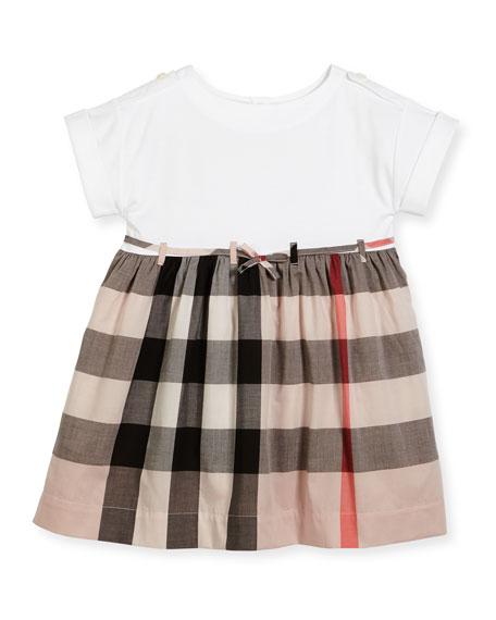 Burberry Rhonda Jersey & Check Poplin Dress, Size