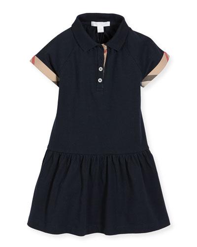 Cali Smocked Raglan Polo Dress, Navy, Size 4-14