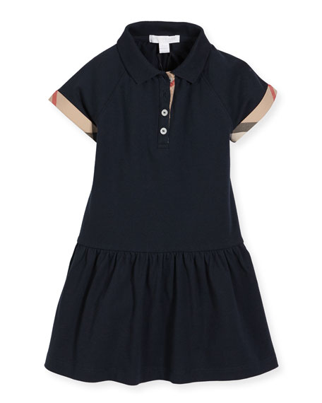 Burberry Cali Smocked Raglan Polo Dress, Navy, Size