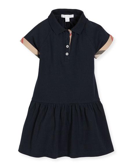 Burberry Cali Smocked Raglan Polo Dress, Navy, Size