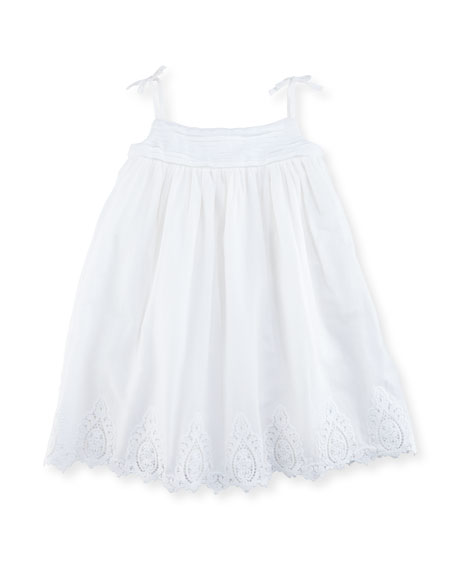Sleeveless Cotton Batiste Sundress w/ Bloomers, White, Size 9-24 Months
