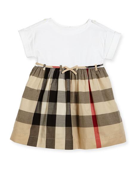 Burberry Rhonda 1 Jersey & Check Poplin Dress,