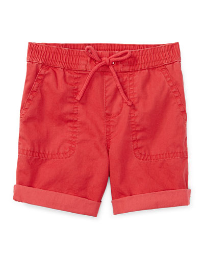 Cotton Twill Parachute Shorts, Sunrise Red, Size 9-24 Months