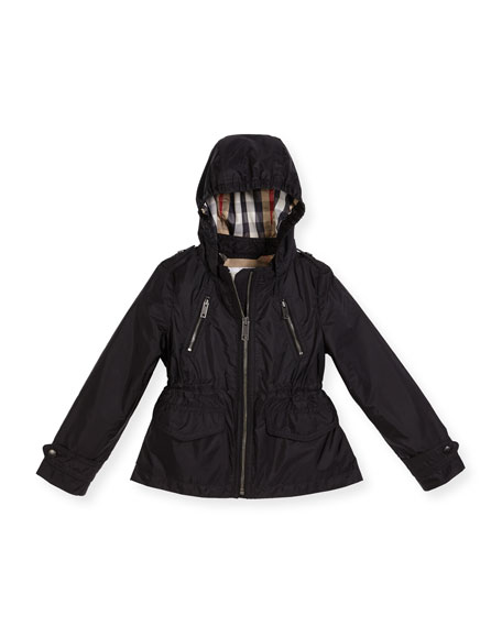 Halle Hooded Jacket, Black, Size 4-14
