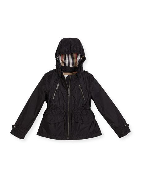 Burberry Halle Hooded Jacket, Black, Size 4-14