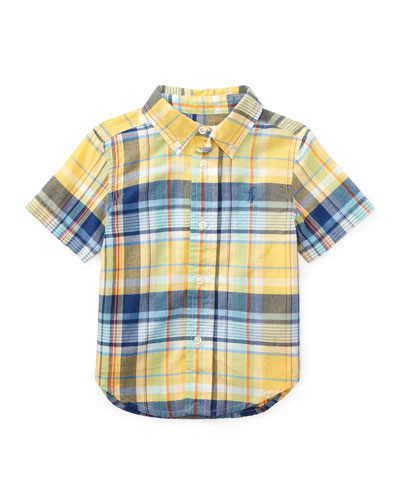 Short-Sleeve Madras Plaid Cotton Shirt, Yellow/Green/Multicolor, Size 9-24 Months