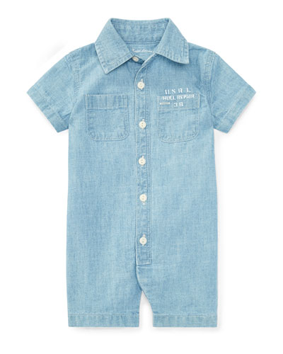 Nautical Cotton Chambray Shortall, Light Blue, Size 3-18 Months