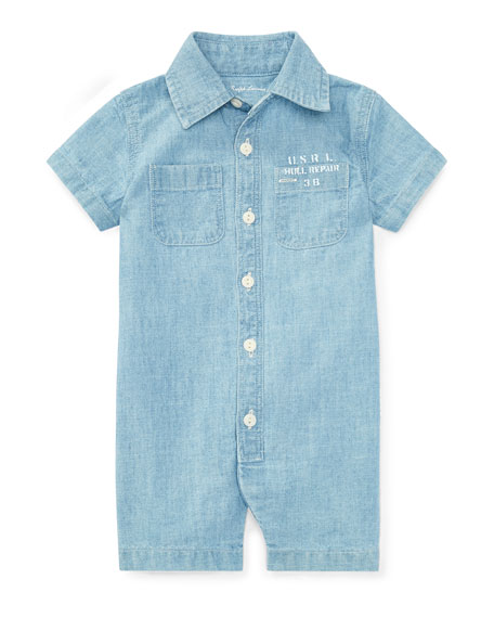 Ralph Lauren Childrenswear Nautical Cotton Chambray Shortall,