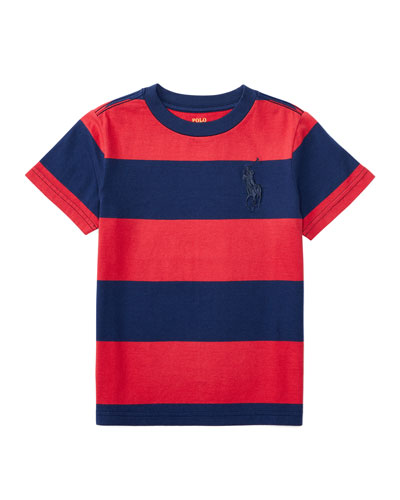 Striped Cotton Jersey Tee, Sunrise Red/Blue, Size 5-7