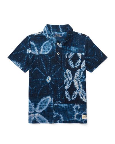 Shibori Jersey Polo Shirt, Blue, Size 2-4