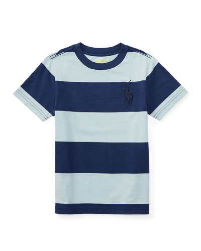 Striped Cotton Jersey Tee, Naples Blue, Size 5-7