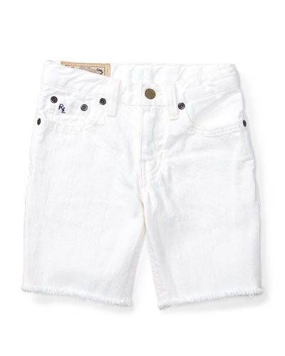 Cotton Denim Cutoff Shorts, White, Size 5-7