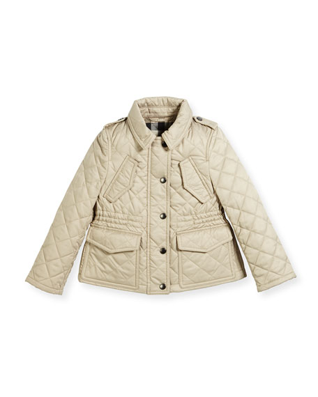 Neals Quilted Button-Front Jacket, Size 4-14