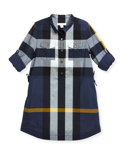 Darielle Long-Sleeve Check Shirtdress, Size 4-14