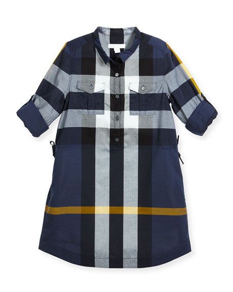 Burberry Darielle Long-Sleeve Check Shirtdress, Size 4-14