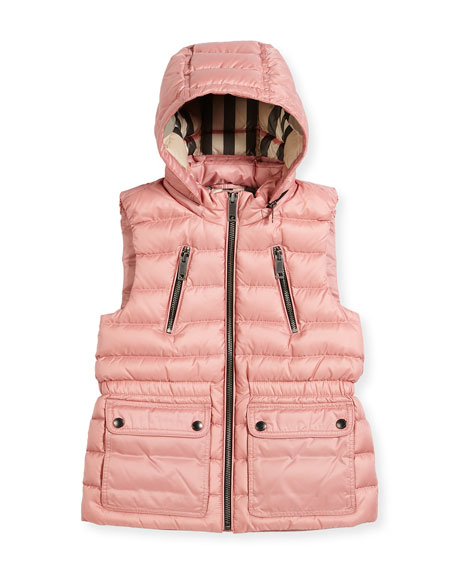 Burberry Maggie Down Gilet w/Detachable Hood, Size 4-14