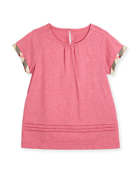 Burberry Gisselle Pintucked Jersey Tee, Pink, Size 4-14