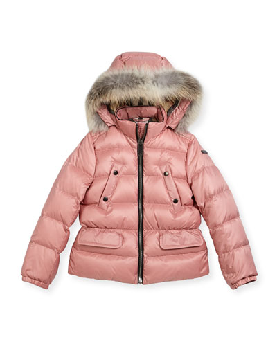 Bronwyn Quilted Puffer Coat w/ Fur Trim, Rose, Size 4-14