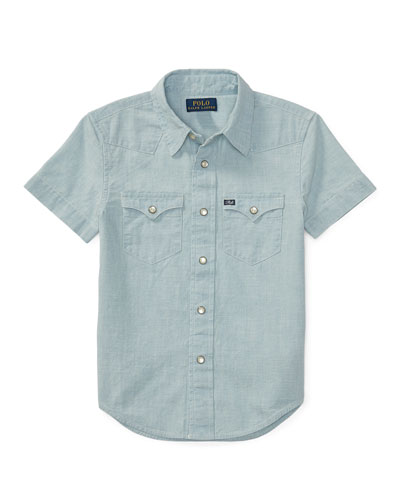 Short-Sleeve Chambray Western Shirt, Light Blue, Size 5-7