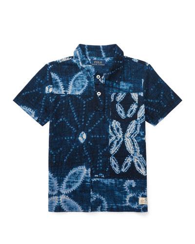 Shibori Jersey Polo Shirt, Blue, Size 5-7