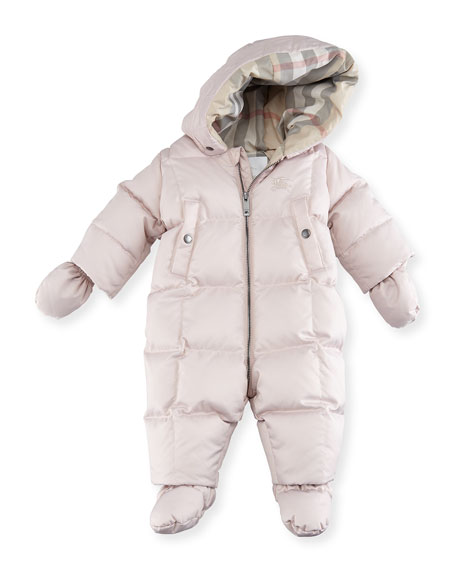 Burberry Skylar Quilted Down Snowsuit, Pink, Size 6-24
